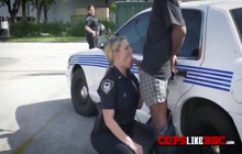 Bouncy tits and more hardcore sex in public with these MILFs black cock lovers.