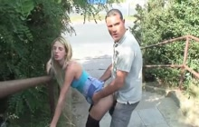 Slim blonde girl fucked by the highway