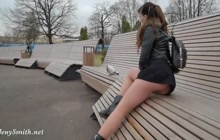 Shameless Jeny Smith flashing her as and pussy in public