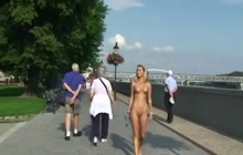 Laura Crystal walking naked on a street