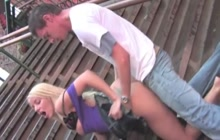 Blonde exhibitionist slut has outdoor sex in the streets