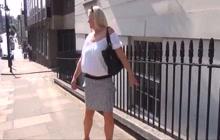 Hot blonde MILF flashing her goods in public