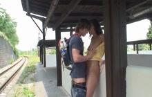 Czech babe fucked in public
