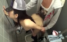 Sexy Japanese chick fucked and creampied in public toilet