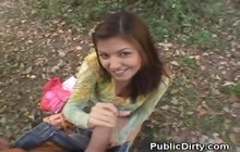 Adorable brunette fucked in park