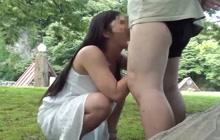 Amateur Jap couple fucking in public