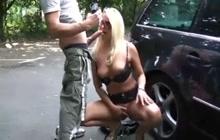 German slut blowing on parking