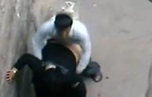 Slut in hijab caught fucking on the street