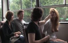 Brunette sucks and fucks in public bus