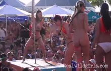 Hot striptease competition in front of crowd