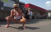 Crazy blonde flashing on the street