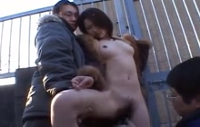 Asian girl toyed in public